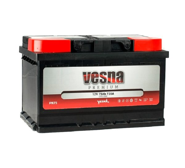 Аккумулятор VESNA Premium 75 Ач оп низкий