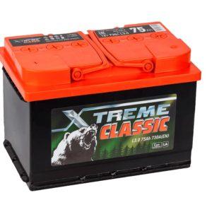 Аккумулятор X-treme CLASSIC (Тюмень) 75 Ач пп